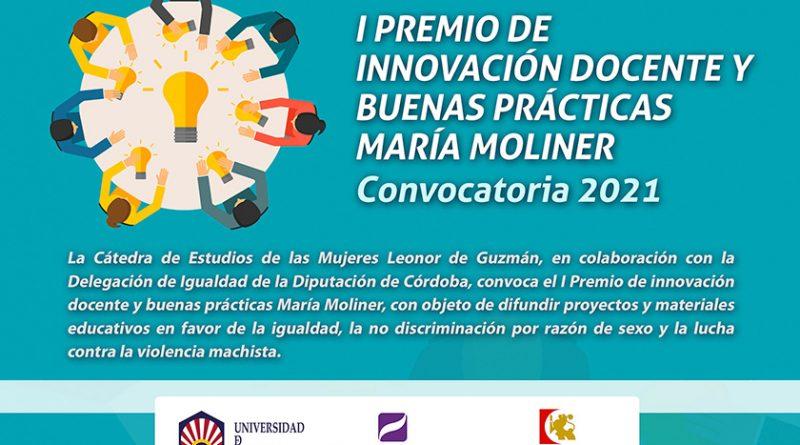 I PREMIO DE INNOVACIÓN DOCENTE Y BUENAS PRÁCTICAS MARÍA MOLINER